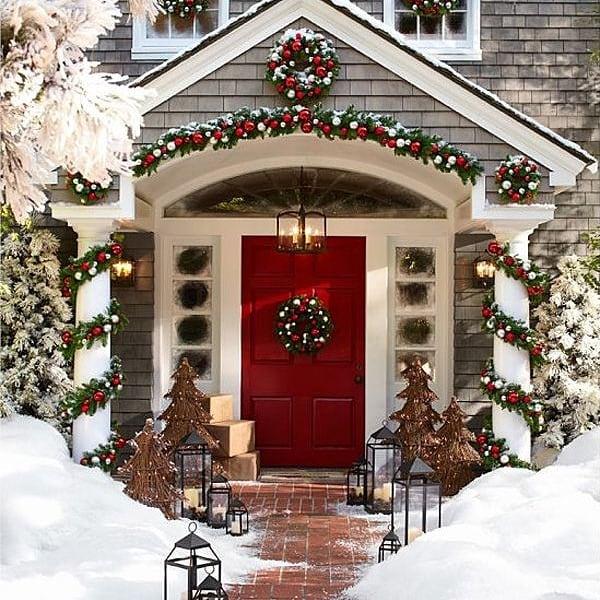 Christmas door with a wreath